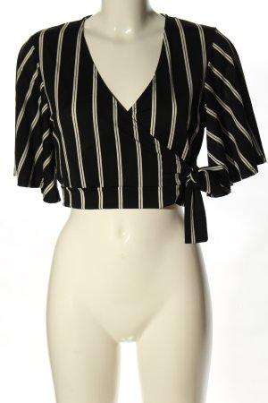New Look Top recortado negro-blanco estampado a rayas estilo «business»
