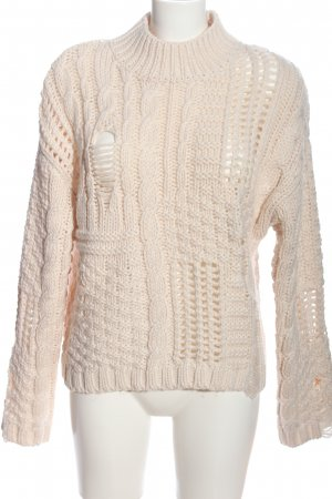 New Look Grobstrickpullover creme Zopfmuster Casual-Look