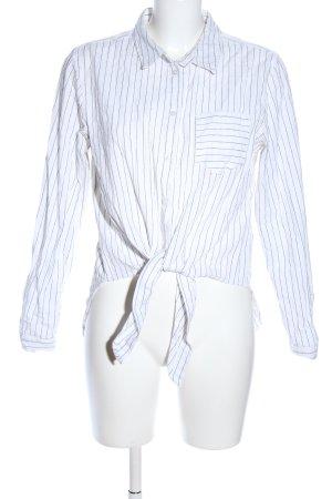 New Look Hemd-Bluse weiß-schwarz Streifenmuster Casual-Look