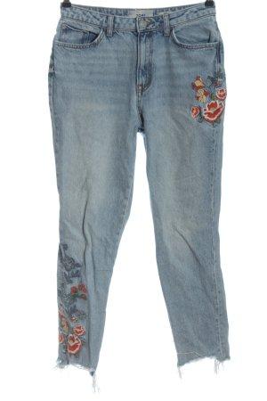 New Look High Waist Jeans blau-rot Blumenmuster Casual-Look