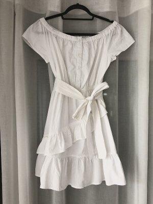 New Look Kleid Sommerkleid kurzes Kleid weißes Kleid Minikleid Cocktailkleid Baumwollkleid trägerloses Strandkleid