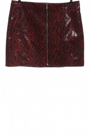 New Look Faux Leather Skirt red-black allover print casual look