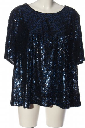 New Look Kurzarm-Bluse blau-schwarz Glitzer-Optik