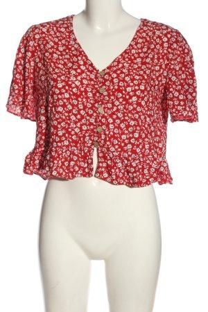 New Look Blouse à manches courtes rouge-blanc imprimé allover élégant