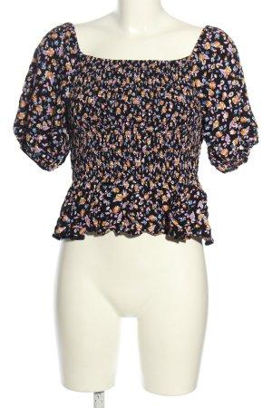 New Look Kurzarm-Bluse schwarz-blau Blumenmuster Casual-Look
