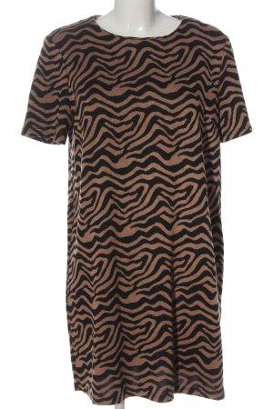 New Look Kurzarmkleid schwarz-braun abstraktes Muster Casual-Look