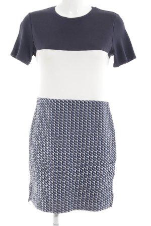 New Look Kurzarmkleid blau-wollweiß Webmuster Business-Look