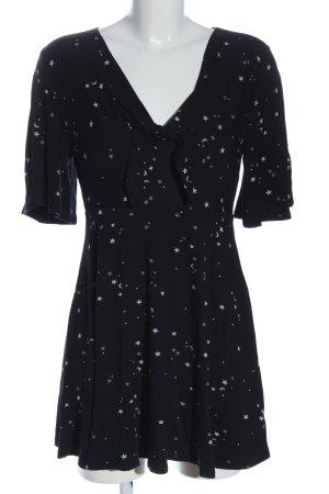 New Look Kurzarmkleid schwarz-weiß abstraktes Muster Casual-Look