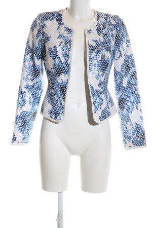 New Look Kurzjacke weiß-blau abstraktes Muster Business-Look