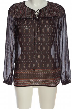 New Look Langarm-Bluse braun-wollweiß abstraktes Muster Casual-Look