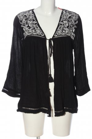 New Look Langarm-Bluse schwarz-weiß Blumenmuster Casual-Look