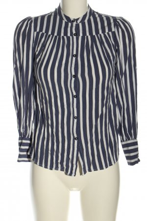 New Look Langarm-Bluse weiß-blau Punktemuster Casual-Look