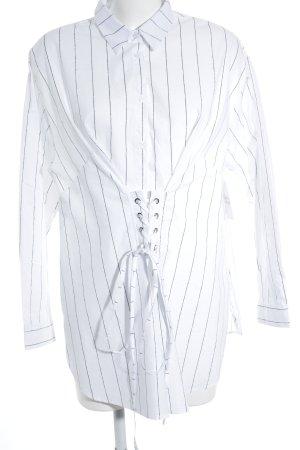 New Look Langarmhemd weiß-graublau Streifenmuster klassischer Stil