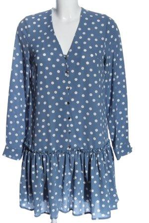 New Look Langarmkleid blau-weiß Punktemuster Casual-Look