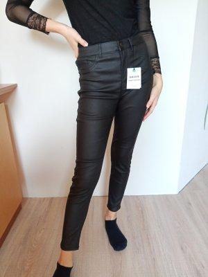 New Look Pantalón de cuero negro