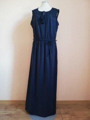 New Look Maxikleid Sommerkleid Kleid lang Maxi Gr. 38 S M dunkelblau Spitze tassles Hippiekleid