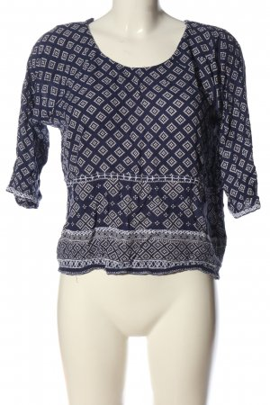 New Look Schlupf-Bluse blau-weiß Allover-Druck Casual-Look