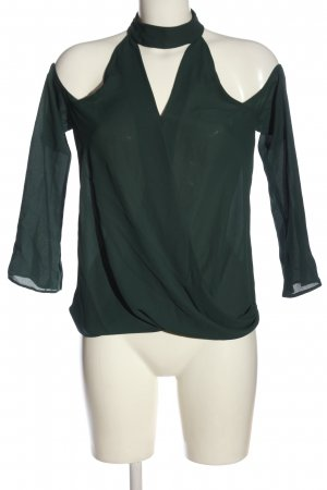 New Look Schlupf-Bluse grün Webmuster Casual-Look