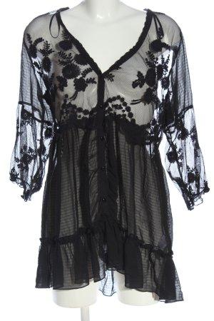 New Look Blusa de encaje negro estilo extravagante