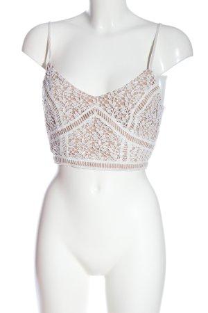 New Look Top de encaje nude-blanco estilo fiesta