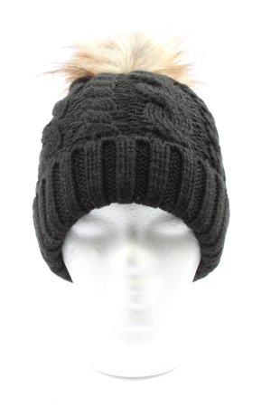 New Look Chapeau en tricot noir-crème torsades style décontracté