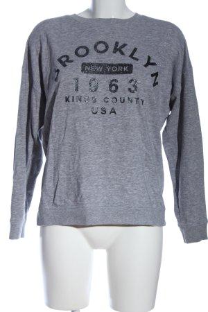New Look Sweatshirt hellgrau-schwarz Motivdruck Casual-Look