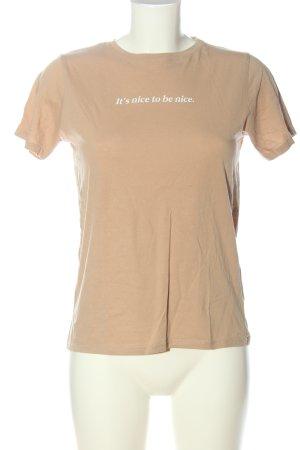 New Look T-Shirt nude-weiß Schriftzug gedruckt Casual-Look