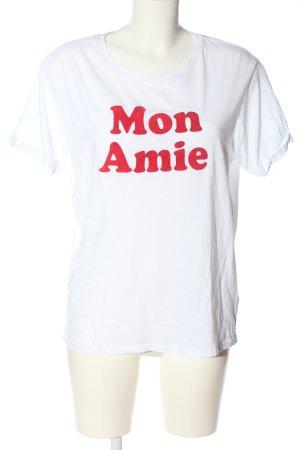 New Look T-Shirt weiß-rot Schriftzug gedruckt Casual-Look