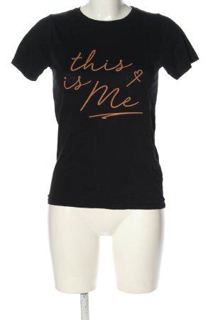 New Look T-Shirt schwarz-braun Schriftzug gedruckt Casual-Look