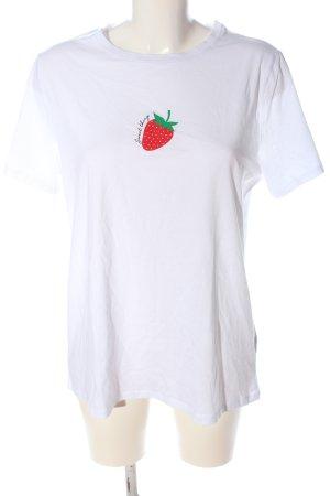 New Look Camiseta blanco-rojo estampado temático look casual