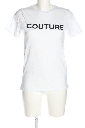 New Look T-Shirt weiß-schwarz Schriftzug gedruckt Casual-Look