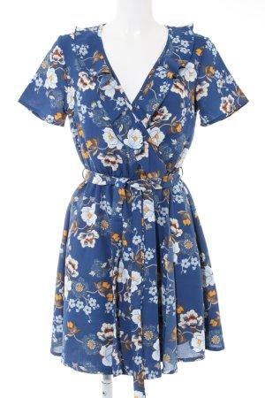 New Look Robe à volants bleu imprimé allover style décontracté