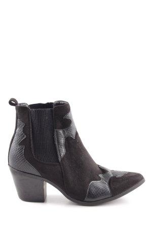New Look Botines estilo vaquero negro estampado de animales elegante