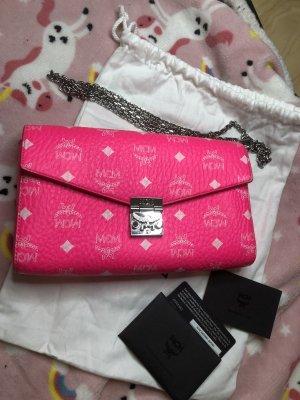 NEW MCM Visetos Coated Canvas Millie Crossbody Bag, Neon Pink