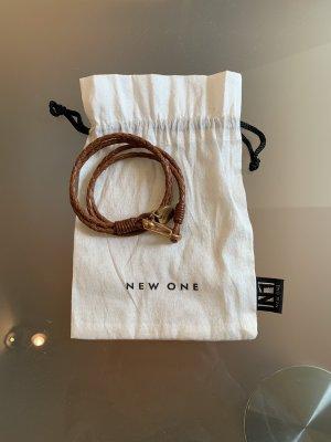 New One Bracelet en cuir cognac