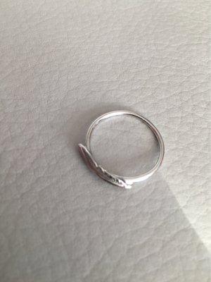 New One Ring Silber Silberring mit Feder Wie NEU