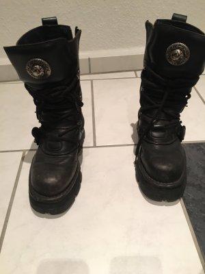 New rock Gothic laarzen zwart-zilver Leer