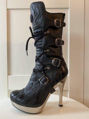 New rock Biker Boots black-silver-colored