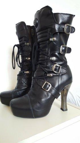 New rock Wysokie buty na obcasie czarny Skóra
