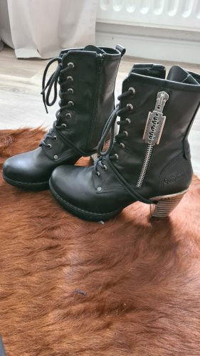 New rock Lace-up Booties black-silver-colored