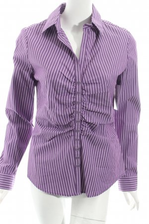 New York & Company Langarm-Bluse dunkelviolett-weiß Streifenmuster Casual-Look