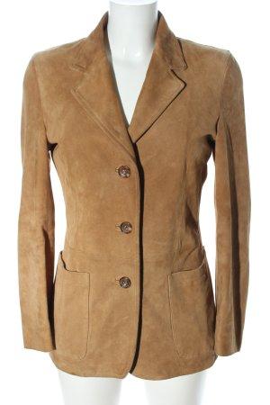 NEW YORK industrie Leren blazer bruin casual uitstraling