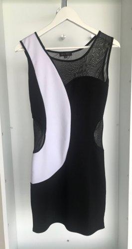 New Yorker - Schwarz/Weißes Minikleid mit transparentem Stoff an Dekolleté & Taille (ungetragen)