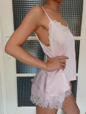 NewYorker Pyjama-Set [Hellrosa-Weiß, metallisch, Gr. XS-S]