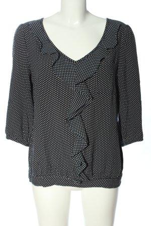 Next Langarm-Bluse schwarz-weiß Allover-Druck Casual-Look