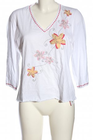 Next Langarm-Bluse weiß-pink Blumenmuster Casual-Look