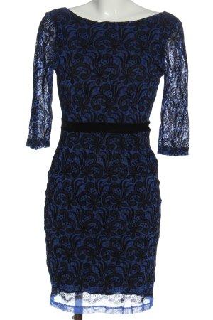 Next Langarmkleid blau-schwarz Allover-Druck Elegant