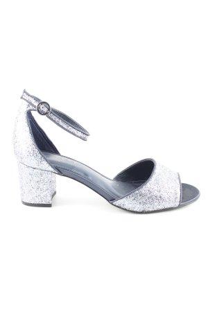 Next Riemchen-Sandaletten silberfarben-schwarz Elegant