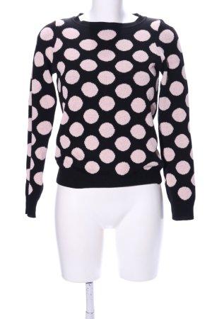 Next Rundhalspullover pink-schwarz Punktemuster Casual-Look