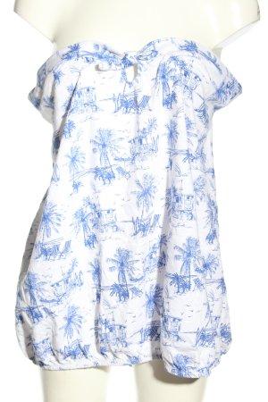 Next Off the shoulder top wit-blauw prints met een thema casual uitstraling